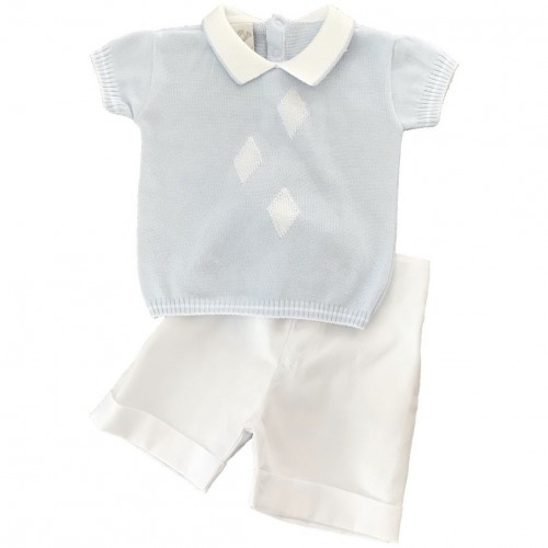 Boys Pale Blue & White Shorts Set